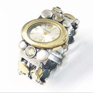 Chico's Mixed Metal Hinged Bracelet Watch